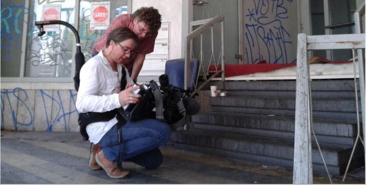 Kai-Hendrik Haß mit Kameramann während des Drehs